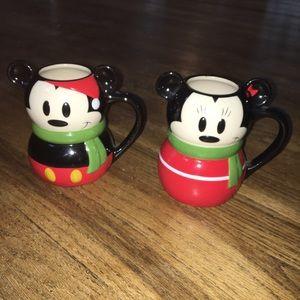 Disney Store Mickey and Minnie Christmas Mugs